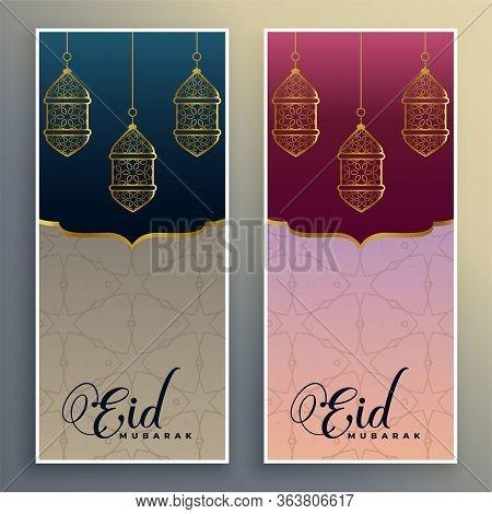 Eid Mubarak Occasion Festival Banner Set Vector Design Illustration