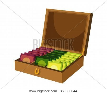 Flat Wooden Box Containing Tea Bags With Empty Place For Label Tag Isolated On White. Container With