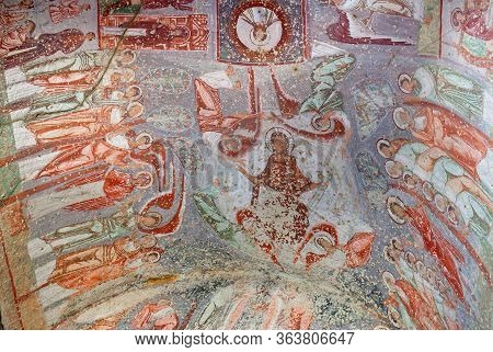 Cavusin, Turkey - May 9, 2016: Ancient Fresco In The Church Of Emperor Nicaphorus Phocas In Cappadoc
