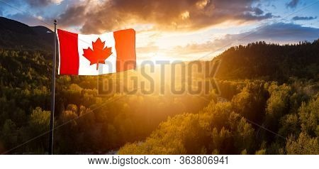 Canadian National Flag Composite. Aerial Panoramic View Of The Mountain Landscape During Colorful Su