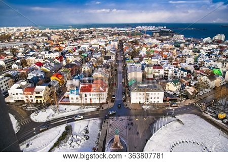 Reykjavic , Iceland- Feb 20, 2020:  Panoramic view of Reykjavik city and Atlantic ocean coast from the top of Hallgrimskirkja church. Reykjavik is the capital and largest city of Iceland.