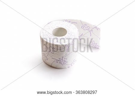 Tissue Paper Isolated. White Soft Toilet Paper Roll For Bathroom. Storing Tissue Toilet Paper During