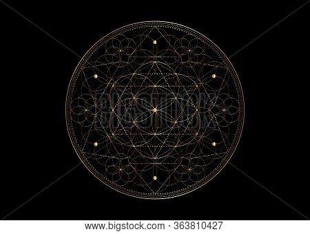Seed Of Life Symbol Sacred Geometry.  Geometric Mystic Mandala Of Alchemy Esoteric Flower Of Life. G