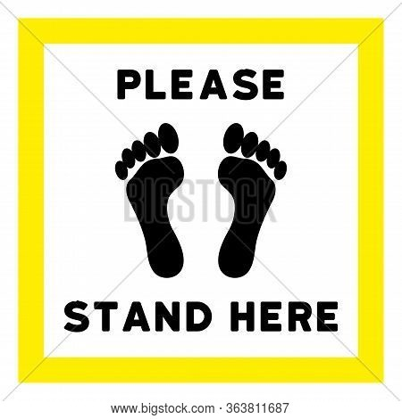 Raster Please Stand Here  Flat Icon. Raster Pictogram Style Is A Flat Symbol Please Stand Here  Icon