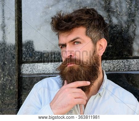 Man With Beard And Mustache On Thoughtful Face, Black Marble Background. Masculinity Concept. Hipste