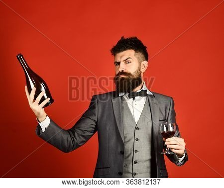 Connoisseur With Serious Face Looking At Bottle Of Merlot