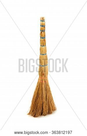 Yellow Broom Cleaning Broom Isolated On A White Background