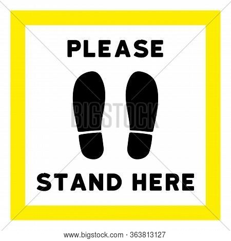 Raster Please Stand Here Flat Icon. Raster Pictograph Style Is A Flat Symbol Please Stand Here Icon