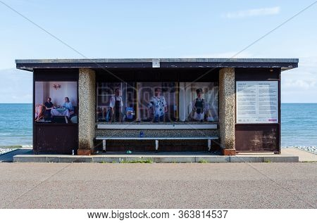 Llandudno, Uk : May 6, 2019: A Concrete Weather Shelter On The Promenade. After Refurbishment, The S