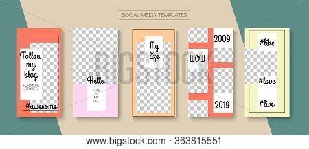 Modern Stories Vector Background. Online Shop Abstract Graphic Advert. Blogger Minimal Cards, Social