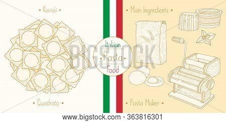 Italian Food Pasta With Filling Ravioli Quadrato, Sketching Illustration In The Vintage Style