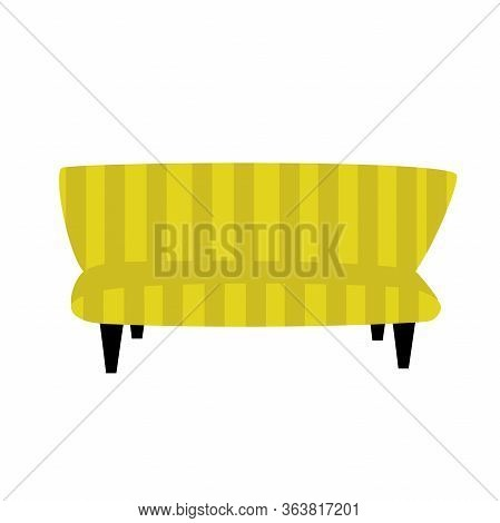 Modern Model Of Sofa, Couch Or Settee Isolated On White Background. Flat Style Cartoon Illustration.