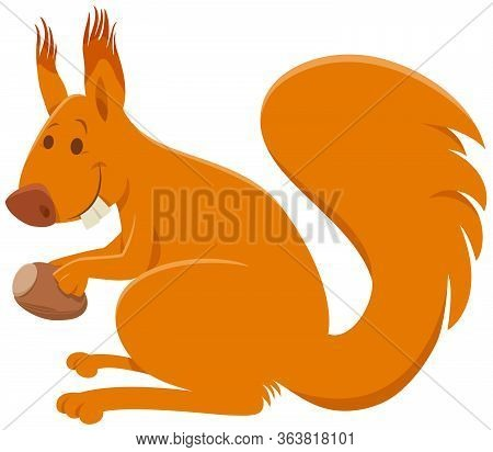 Cartoon Illustration Of Funny Squirrel Rodent Animal Comic Character