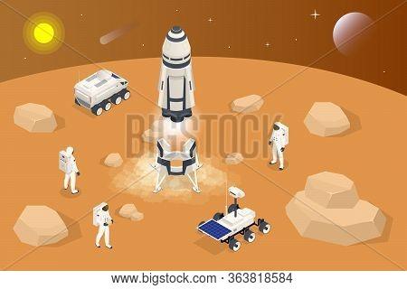 Isometric Rocket Take-off Or Landing On Mars. Mars Colonization, Biological Terraforming, Paraterraf