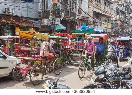 New Delhi / India - September 19, 2019: Transport Congestion In Chandni Chowk, A Busy Shopping Area