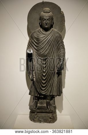 Greco-buddhist Statue Of Standing Buddha From Gandhara, In The National Museum Of India