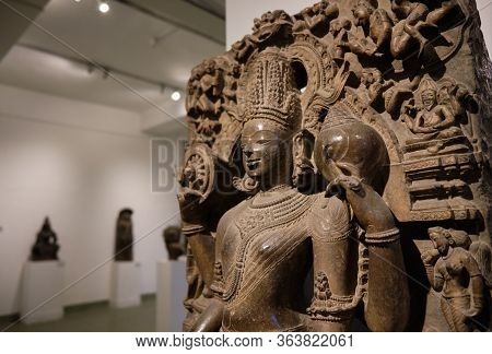 Stone Statue Of Hindu Deity In The National Museum Of India In New Delhi