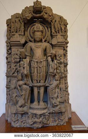 Stone Relief Of Hindu God Vishnu In The National Museum Of India In New Delhi