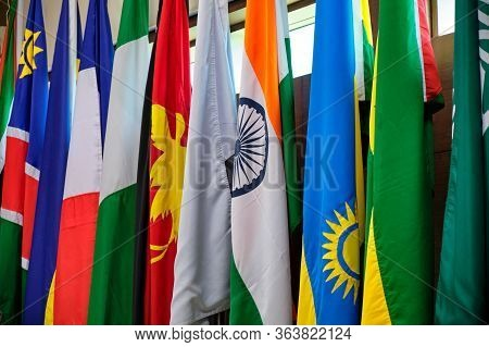 Row Of National Flags Of Several Countries, International Cooperation Concept