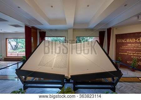Delhi / India - October 2, 2019: Astounding Bhagavad Gita, 800-kg World's Largest Sacred Book At Isk