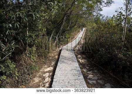Trail Running, Trail Runner On Stone Trail, Footpath, Country Road, Pathway, Alley, Lane In Forest A