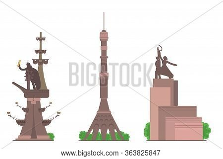 Sights Of Moscow Vector Illustration Set. Moscow Architecture Historical Famous Beautiful Monuments.