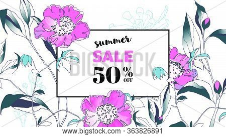 Botanical Summer Sale Banner Template Design, Hand Drawn Camellia Flowers, Blue And Pink Tones