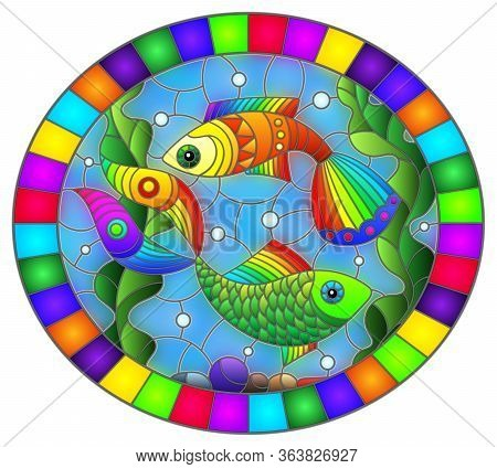 Illustration In Stained Glass Style With Bright Rainbow Fish On The Background Of Water, Bottom And