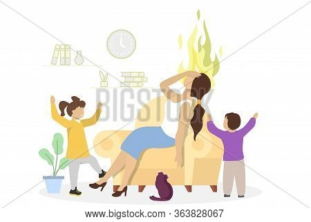 Desperate Stressed Mother With Her Kids, Vector Flat Illustration