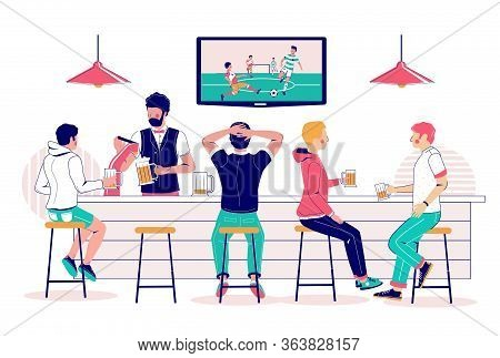 Beer Pub Visitors Watching Soccer Match On Tv, Vector Flat Illustration