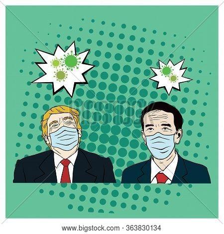 Donald Trump Meet Joko Widodo Wearing Healthy Mask, Corona Virus, Covid-19, Flat Vector Design Templ