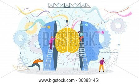 Success Knowledge Concept. Tiny People Insert A Brain Into A Human Head, Profile. The Development Of
