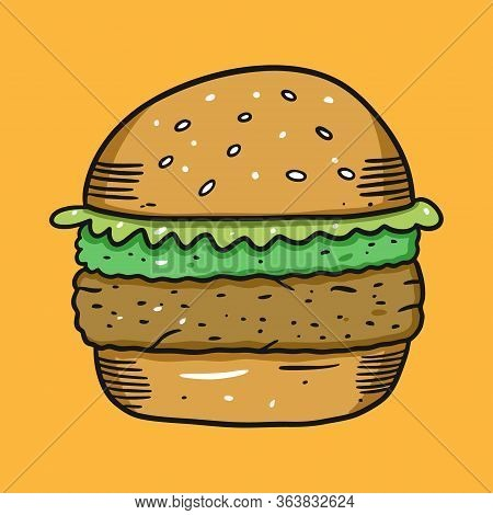 Vegan Burger With Guacamole. Vector Illustration. Cartoon Style. Isolated On Yellow Background.