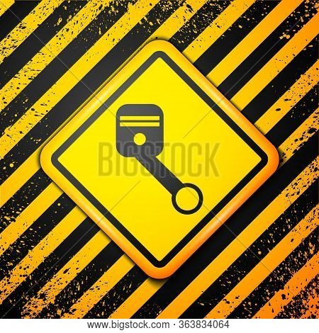 Black Engine Piston Icon Isolated On Yellow Background. Car Engine Piston Sign. Warning Sign. Vector