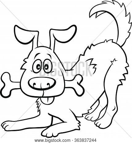 Black And White Cartoon Illustration Of Happy Dog Comic Animal Character With Bone Coloring Book Pag