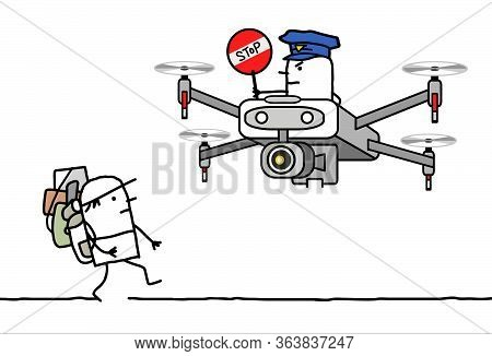 Hand Drawn Cartoon Man With Backpack Stopped By A Cop Riding A Drone