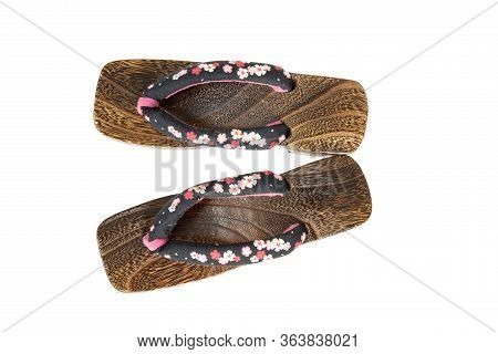 Japanese Traditional Geta Sandal, Isolated On White. Traditional Japanese Asian Wood Footwear Called