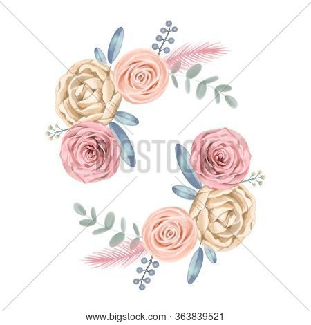Watercolor Flowers. Floral Illustration, Flower In Pastel Colors, Pink Rose And Gray Leaf. Branch Of