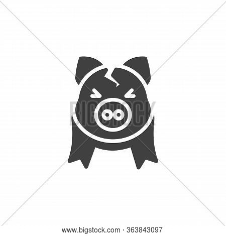 Broken Piggy Bank Vector Icon. Filled Flat Sign For Mobile Concept And Web Design. Cracked Piggy Ban