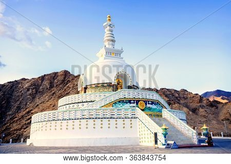 Shanti Stupa Is A Buddhist White-domed Stupa (pagoda) In Leh District, Ladakh, In The North Indian S