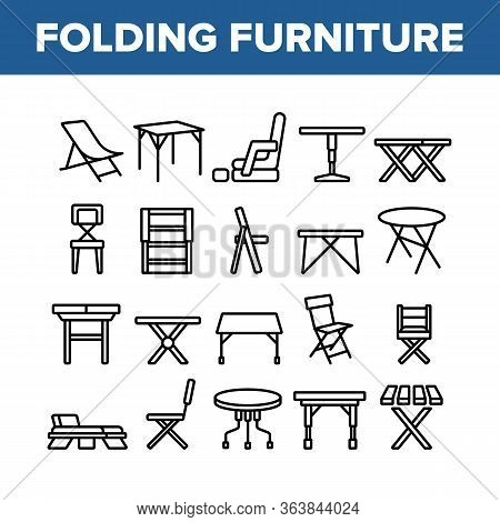Folding Furniture Collection Icons Set Vector. Table And Chair, Lounge And Armchair Compact And Gard