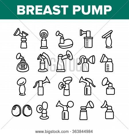 Breast Pump Device Collection Icons Set Vector. Automatical And Manual Breast Pump Equipment For Mot