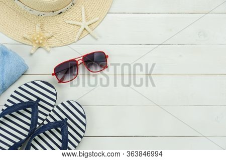 Table Top View Aerial Image Of Women Fashion To Travel In Beach Summer Holiday Background.flat Lay E
