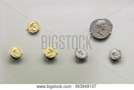 Merida, Spain - August 25th, 2018: Antoninus Pius Roman Emperor Coins. National Museum Of Roman Art