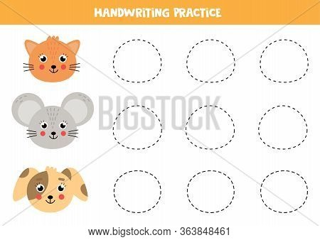 Handwriting Practice For Kids. Cute Animals Face. Cute Cartoon Mouse, Cat And Dog.