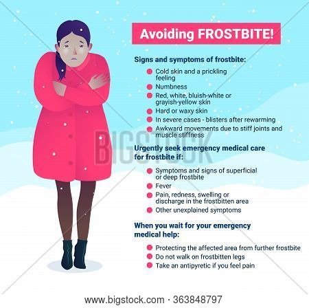 Avoiding Frostbite Banner In Cartoon Style. Signs And Symptoms Of Frostbite. Freezing Young Girl In
