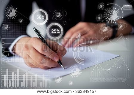 Manager Writing On Paper And Virtual Virology Disease Statistics. Business Man Sitting And Working A