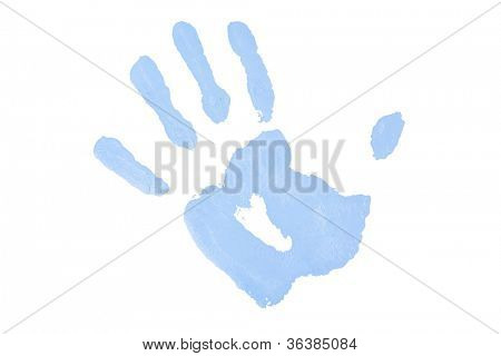 One blue hand print against a white background