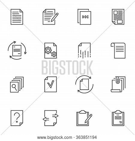 Paper Document Line Icons Set, Outline Vector Symbol Collection, Linear Style Pictogram Pack. Signs,
