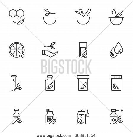 Alternative Medicine Line Icons Set, Outline Vector Symbol Collection, Linear Style Pictogram Pack.